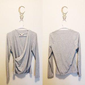 Sundance Heather Grey Faux Wrap Shirt
